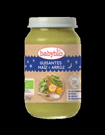 Cuida de los pequeños con nuestra alim infantil Babybio Buenas Noches Guisantes-Maiz-Arroz