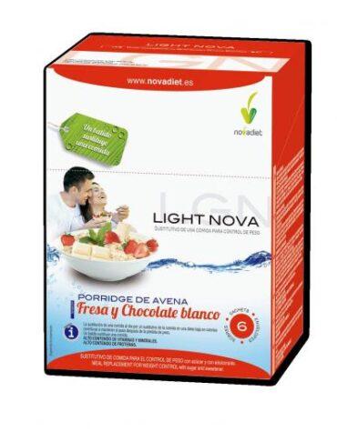 Para ayudar con el control de peso BATIDO LIGHT NOVA PORRIDGE FRESA Y CHOCOLATE BLANCO 6 SOBRES