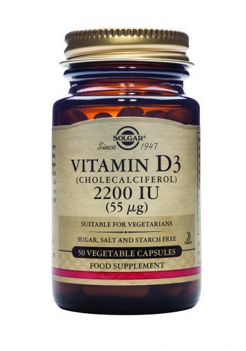 Cuidate con las vitaminas VITAMINA D3 2200 UI (55 mcg.) (Colecalciferol). Cápsulas Vegetales.