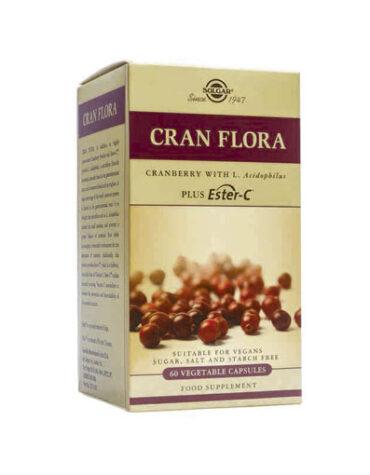 Protege el sistema genitourinario CRAN FLORA (Arándono Rojo con Probioticos y Ester-C®)60 Cápsulas Vegetales.