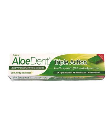 Cuidate con nuestros productos de higiene bucal DENTÍFRICO CON ALOE VERA TRIPLE ACCION 100 ml