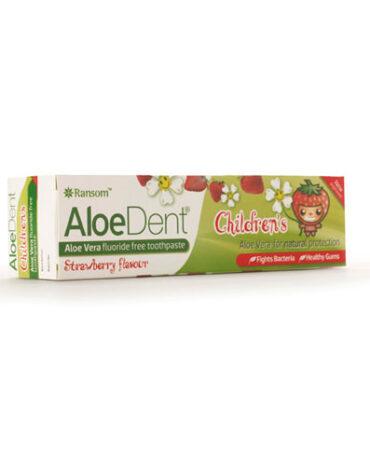 Cuidate con nuestros productos de higiene bucal DENTÍFRICO PARA NIÑOS CON ALOE VERA SIN FLÚOR SABOR FRESA, 50 ml