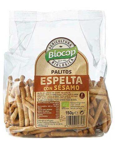 Descubre nuestros aperitivos y frutos secos PALITOS TRIGO ESPELTA SESAMO BIOCOP 150 G