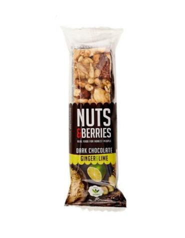 Descubre nuestros aperitivos y frutos secos BARRITA CHOCOLATE NEGRO-JENGIBRE-LIMA NUTS&BERRIES 40 grs