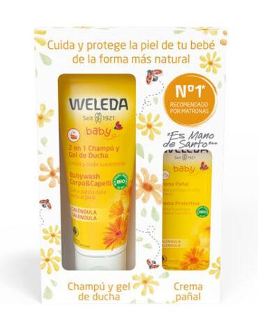 Cuidalos con nuestra higiene infantil PACK BEBE CHAMPU Y GEL DE DUCHA CALENDULA BIO 200ML + CREMA PAÑAL CALENDULA BIO 30ML