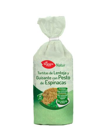 Descubre nuestros aperitivos y frutos secos TORTITAS DE LENTEJA Y GUISANTE CON PESTO DE ESPINACAS 122G