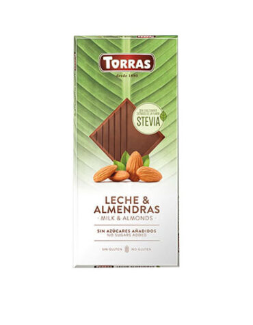 Disfruta de la repostería y chocolates CHOCOLATE CON LECHE, ALMENDRAS Y STEVIA 125GR
