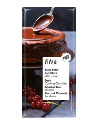 Disfruta de la repostería y chocolates CHOCOLATE DE COBERTURA NEGRO 70% CACAO 200GR BIO