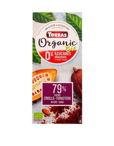 Disfruta de la repostería y chocolates CHOCOLATE NEGRO 79% CACAO CRIOLLO FORASTERO S/AZUCAR 100GRS