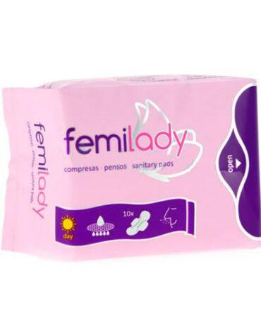 Cuidate con nuestros productos de higiene intima COMPRESAS FEMILADY DIA 8 CAPAS 10UDS